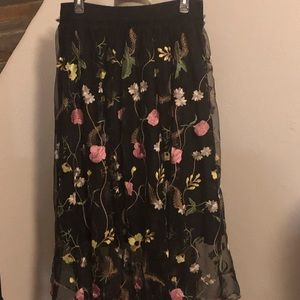 H & M Floral embroidered mesh maxi skirt